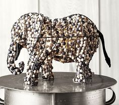 Beaded Elephant Lamp