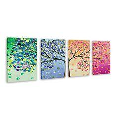 olieverfschilderij bloemen voorjaar zomer herfst winter met gestrekte frame set van 4 met de hand beschilderd doek – EUR € 149.99