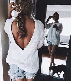 sweater and cutoffs...cute look