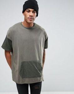 ASOS Super Oversized Longline T-Shirt With Kangaroo Pocket And Drawcord Hem In Green