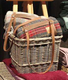 tartan blankets in a basket