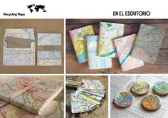 DIY- your escritorio con mapas reciclados.