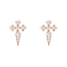 Blood Diamonds Button earrings pink gold and diamonds www.stoneparis.com