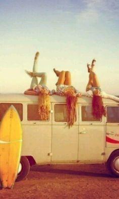 Surfing friends.