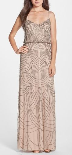 Beautiful bridesmaid dress for a classic garden or vineyard wedding. Love the spaghetti straps, v-neckline and delicate beading. Flattering on any figure! Comes in taupe/pink, nude, silver grey, navy, gunmetal and blush.