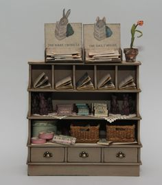 www.artofmini.com Vintage Store Shelves Cabinet Filled with Goodies