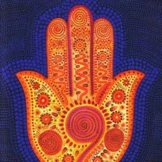 I absolutely love the color combinations of this hamsa, and the fact that it manages to be both folk art and contemporary all at the same time! It's truly unique and beautiful! Yellow Hamza Hand by Beatrice Baumgartner-Cohen Hamsa Art, Hamsa Design, Paisley, Jewish Art, Religious Art, Architecture Tattoo, Funny Tattoos, Hand Of Fatima, Selling Art