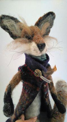 needle felted fox in boiled wool jacket