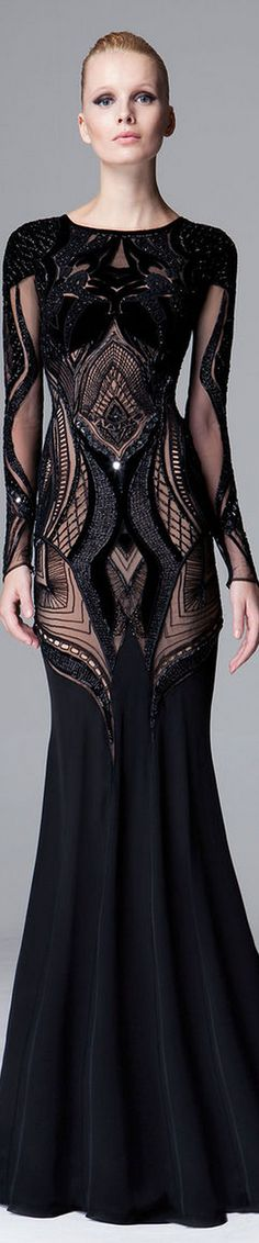 Zuhair Murad Fall 2014/15 RTW black lace evening gown