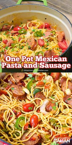 One Pot Mexican Pasta and Sausage features a spectacular salsa inspired sauce; that is cooked right into the spaghetti in this amazing dish, ready in 20 Minutes! Your favorite salsa ingredients Paleo Recipes, Mexican Food Recipes, Cooking Recipes, Mexican Cooking, Paleo Meals, Burger Recipes, Indian Recipes, Healthy Meals, Crockpot Recipes