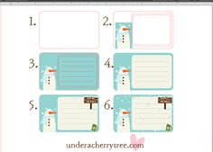 Under A Cherry Tree: Jin's Snowman Notecards....would be great for business cards