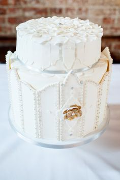 Elegant Regal Little White Wedding Cake