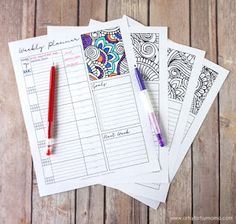 free weekly planners to color