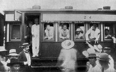 Dec. 27, 1897: Emilio Aguinaldo and 36 other Filipino rebel leaders arrive in Dagupan, Pangasinan Province, in a railcar.From left: Gregorio del Pilar, Wenceslao Viniegra, Emilio Aguinaldo and Vito Belarmino. At extreme right is Pedro Paterno, who mediated the Pact of Biyak-na-Bato. From Dagupan, the exiles proceeded to the port of Sual, Pangasinan, where they boarded the merchant steamer SS Uranus;bound for HongKong
