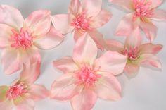 Silk Artificial Flower  Set of 6 Clemantis in Light by simplyserra, $5.50