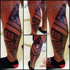 Modern Samoan leg tattoo.