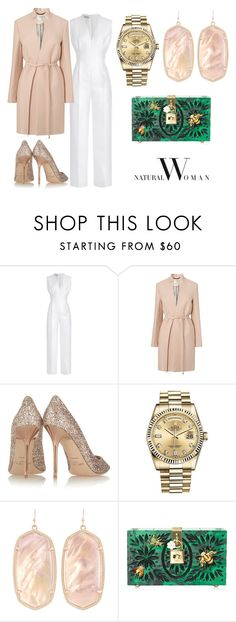"""Natural a Emerald"" by acaguiar on Polyvore featuring Emilia Wickstead, L.K.Bennett, Jimmy Choo, Rolex, Kendra Scott and Dolce&Gabbana"