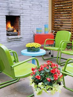 Wallet-friendly metal furniture makes this small patio a fun party atmosphere.