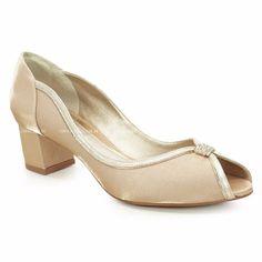 Peep Toe Salto Médio Laura Porto Velvet Dourado Bege -mu1416 - R$ 323,90