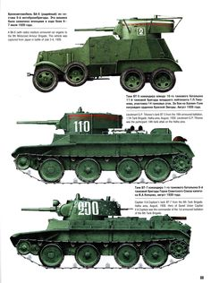 Armored vehicle and tanks Red Army - BA-6, BT-5 & BT-7.