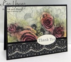 Stampin' Up! Timeless Elegance paper. Pink Roses and lace. Handmade card by Lisa Young, Add Ink and Stamp