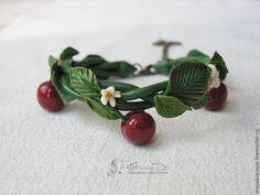 Купить Браслет Дикая вишня - Браслет ручной работы, браслет с вишнями, браслет с ягодами