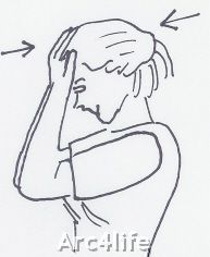 Exercise to strengthen the neck muscles: Press palms against forehead and push against each other