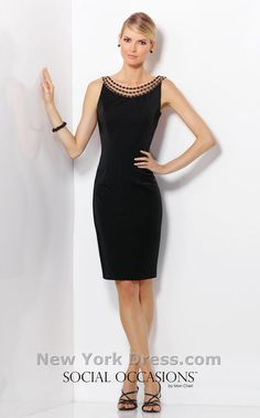 Amaze them in this classic cocktail dress from Social Occasions by Mon Cheri 116833. The illusion bateau neckline bodice features stunning tonal pearl strands that