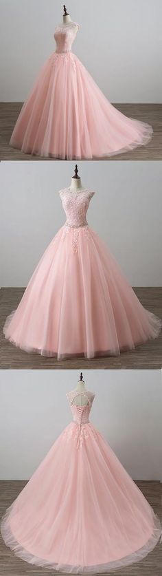 Sweet 16 Dresses | Cute Pink Tulle Modest Prom Dress for Teens #prom #dress #gowns #promdress #promdresses