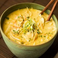 Thai Coconut Curry Soup. Could substitute shrimp and Tofu for chicken.