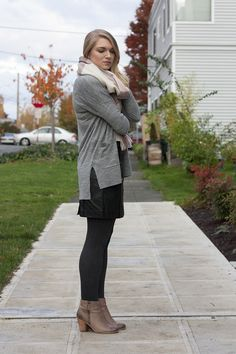 Leather skirt styled for fall fashion.