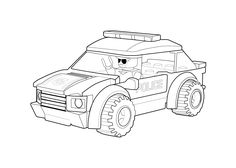 Police car coloring page Lego, printable free. Lego coloring page