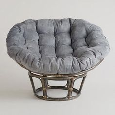 Feel the stress of the day melt away as you sink into our exclusive luxurious Charcoal Micro Suede Papasan Chair Cushion This tufted cushion is built for major comfort with velvety-to-the-touch micro suede upholstery and a plush, yet ultra-durable poly filling that provides just enough give for that sinking effect. The Charcoal hue is versatile enough to work as a neutral shade, yet chic enough to give your space an instant update.