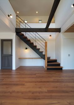 Pin by ケンコーホーム on 階段 in 2020 Staircase Design Modern, Home Stairs Design, Interior Stairs, House Design, House Staircase, Loft Stairs, Under Staircase Ideas, Storage Under Staircase, Building Stairs