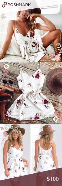 ✨ONE LEFT✨Floral Sheer Beach Summer Dress Brand new. White Sheer Floral Beach Summer Dress. Available in sizes small, medium and large. Please refer to measurements for sizing! Smoke free pet free home! 🚫❌ Trades Dresses Mini