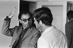 Jean Luc Godard and Jean Paul Belmondo on the set of Pierrot le Fou (1965)