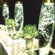 Baby's breath  in  water. With led lights in the bottom. Of vase then sit vase on mirrored base. Very beautiful. Table Centre piece. I  adore them. Going too this. For my moving in  my new home. Party. , After I've finished restoring it.