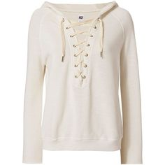 NSF Women's Soft Sweats Lace-Up Hoodie (770 BRL) ❤ liked on Polyvore featuring tops, hoodies, sweaters, shirts, blusas, outerwear, ivory, lace up long sleeve top, lace up hoodie and lace up hooded sweatshirt