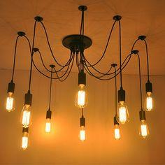 Bar Creative Spider Retro Industrial Pendant Light fixtures 10 Lights E27 Iron Pendant Lamp Abajur lustres e pendentes #Affiliate