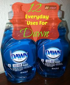 12 Everyday Uses For Dawn Dishwashing Liquid! Dawn has so many uses that I couldn't begin to list them all! I LOVE that they found out they can use it to save wildlife when there is an oil spill, too! Here are just 12 of the uses I know of for Dawn. Do you know others? If so, please share them in the comments!