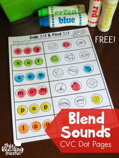 Blend Sounds with CVC Dot Pages - FREE - This Reading Mama