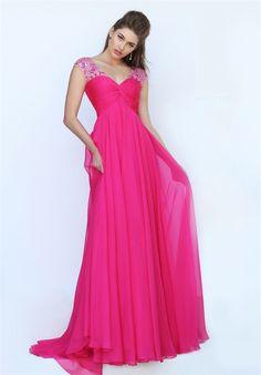 V Neck Cap Sleeve Open Back Empire Waist Long Hot Pink Chiffon Prom Dress
