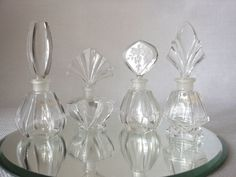 Vintage Crystal Perfume Bottles Set of Four by 2cool2toss on Etsy, $45.00