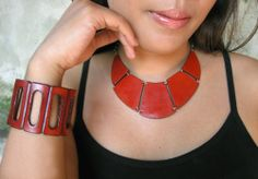 Tangerine cuff and necklace from Anna Sukardi