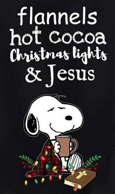 Snoopy - Flannels, hot cocoa, Christmas light and Jesus. Peanuts Christmas, Winter Christmas, Christmas Lights, Christmas Holidays, Xmas, Celebrating Christmas, Snoopy Quotes, Charlie Brown And Snoopy, Snoopy And Woodstock