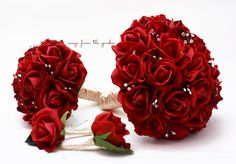 Red Roses & Crystals Bridal Bouquet Real Touch Bridal Bouquet Roses Bridesmaid Groom Groomsman Boutonniere Red