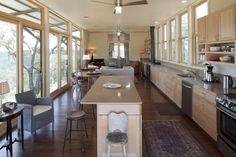 Living space. Miller Porch House, by Lake   Flato Architects. Vanderpool, Texas. #kitchen #living_room #dining_room
