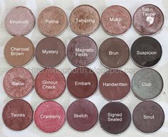 Mac eyeshadows- lets see, i want suspicion, sum, club, signed sealed, sketch, embark, tempting, magnetic field, embark, innuendo, twinks...