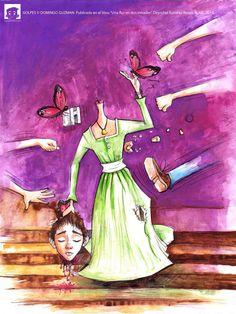 """""""GOLPES"""", ©Domingo Guzmán, 2014. Ilustración publicada en el libro """"Una flor en dos mitades""""  de la joven escritora Dayrobel Ramirez Rossó. Cliente: Fundación Literaria Aníbal Montaño."""