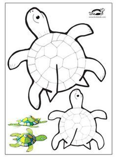 Tips and templates: Glue-free printable turtle - Basteln - Printable paper turtle crafts - Summer Crafts, Diy Crafts For Kids, Arts And Crafts, Creative Crafts, Turtle Crafts, Printable Paper, Free Printable, Printable Crafts, Printable Templates